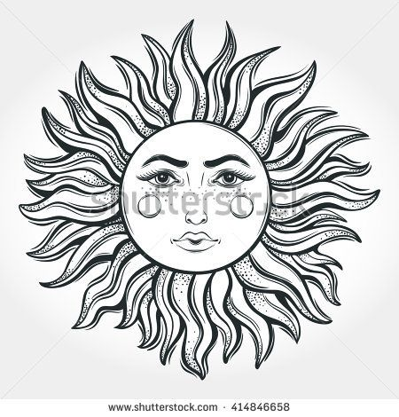 450x470 Bohemian Sun Moon Tattoo Designvector Illustration Stock Vektor
