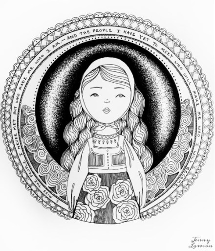 440x513 Freebie Bohemian Girl Coloring Page Color It Or Stitch It