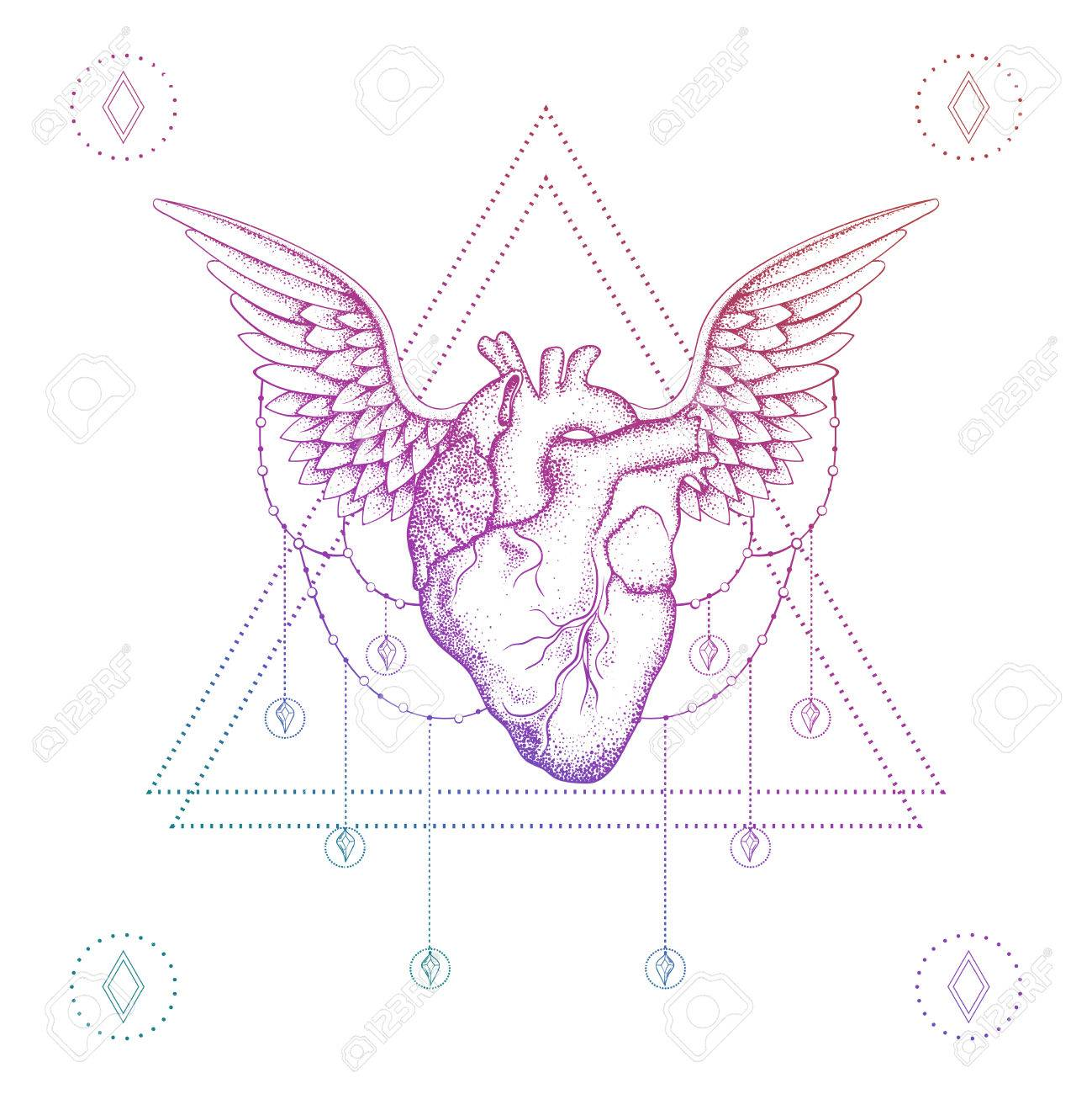 1299x1300 Heart With Wings, Boho Color Dotwork Tattoo. Bohemian Vector