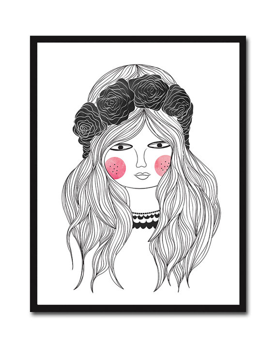 570x716 Juliette Bohemian Girl Giclee Art Portrait Print Illustration