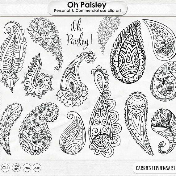 570x570 Paisley Digital Stamp Clip Art, Bohemian Clipart Download Doodles