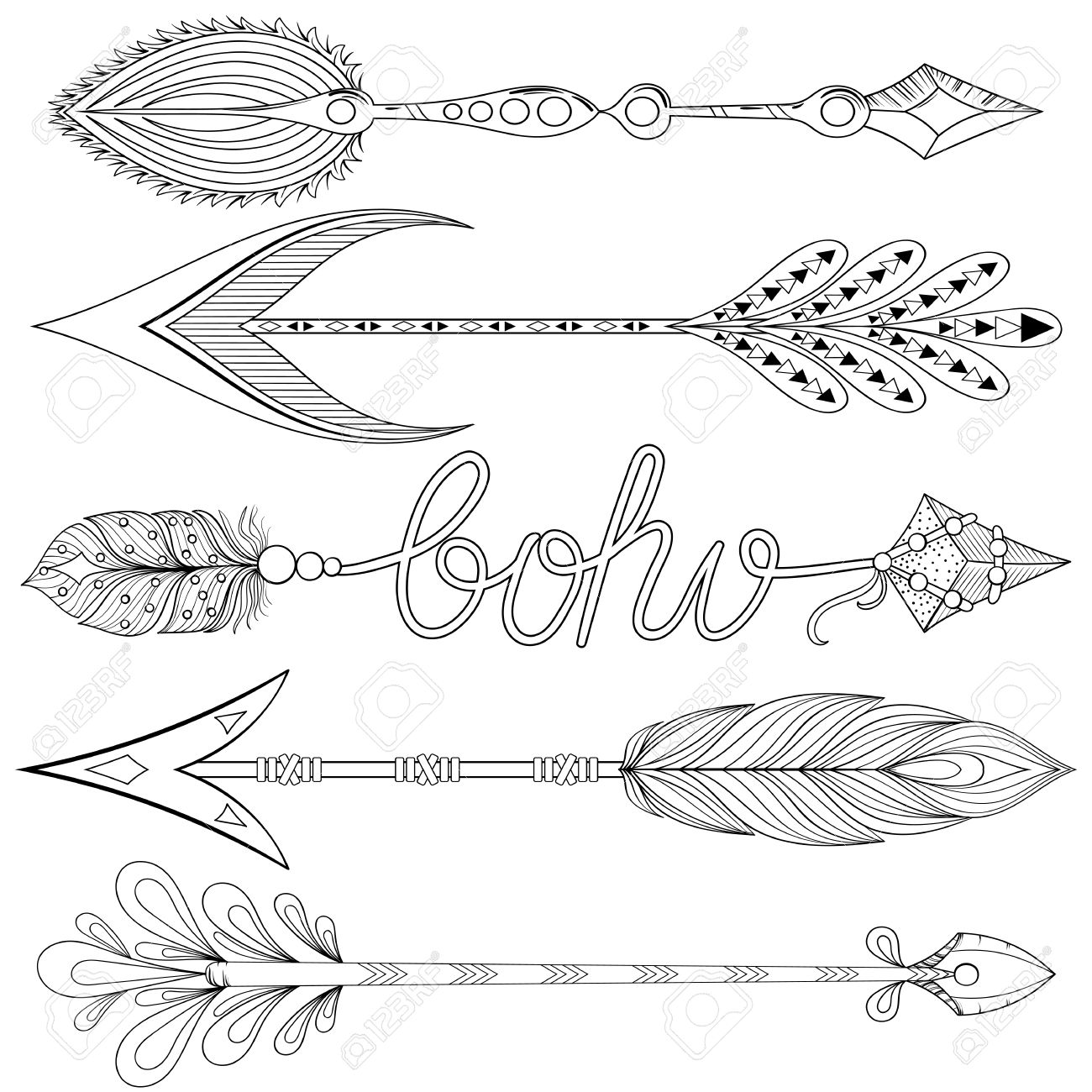1300x1300 Bohemian Arrows Set With Feathers. Hand Drawn Decorative Arrows