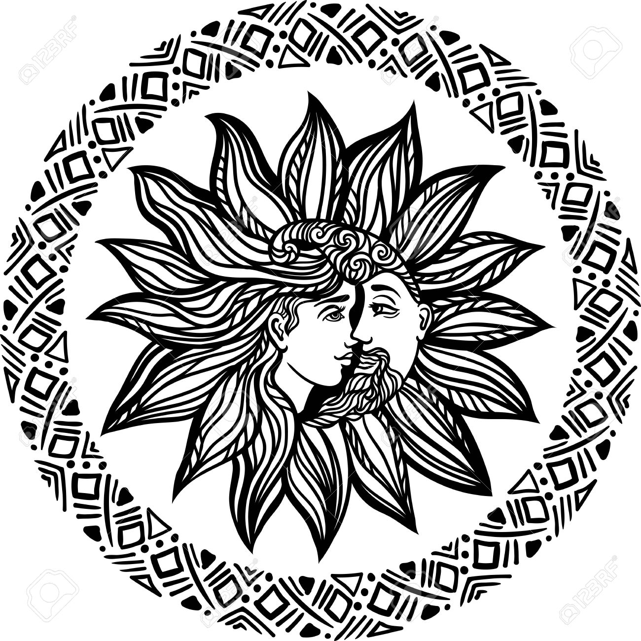 1300x1300 Bohemian Sun And Moon. Tattoo Design.illustration. Alchemy Occult