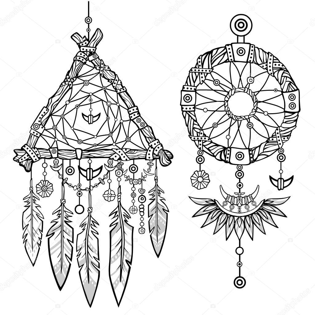 1024x1024 Round And Triangular Dreamcatcher.native American Indian Talisman