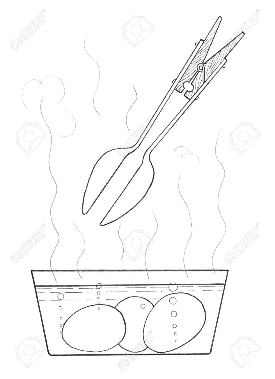 945x1300 Eggs Get From The Boiling Water. Schematic Drawing Stock Photo