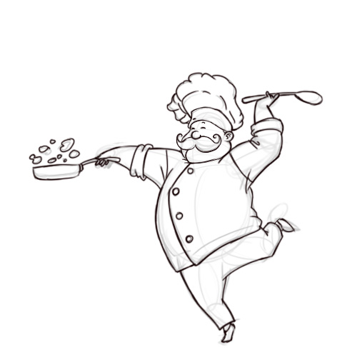 500x500 French Chef Line Drawings