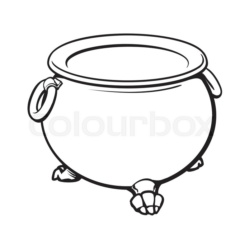 800x800 Black And White Cauldron With Boiling Green Potion Inside, Sketch