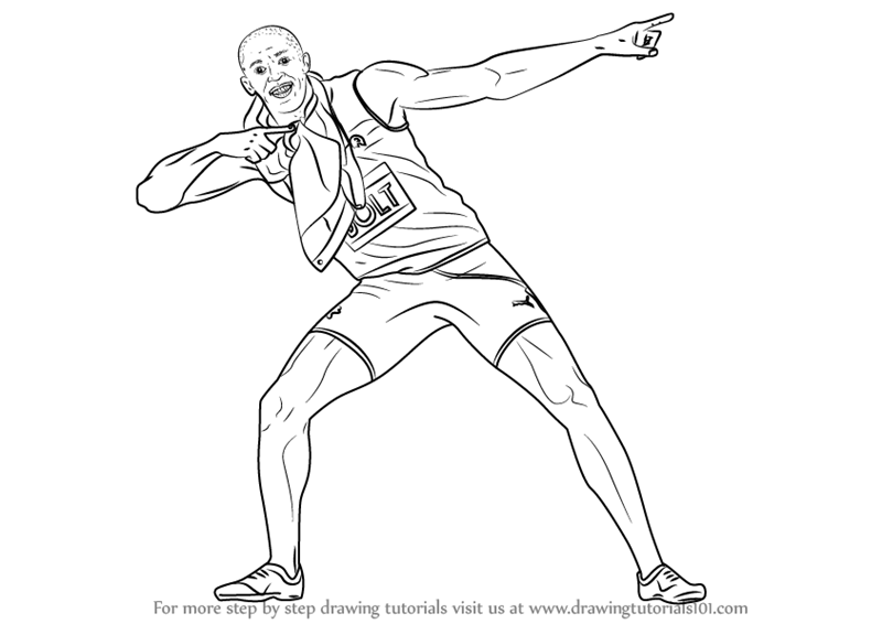 800x566 Learn How To Draw Usain Bolt (Other People) Step By Step Drawing
