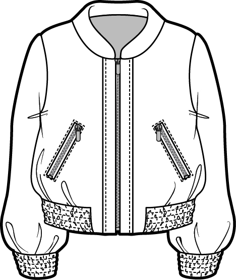 468x555 Silky Bomber Illustrator Cad Sketches, Drawings