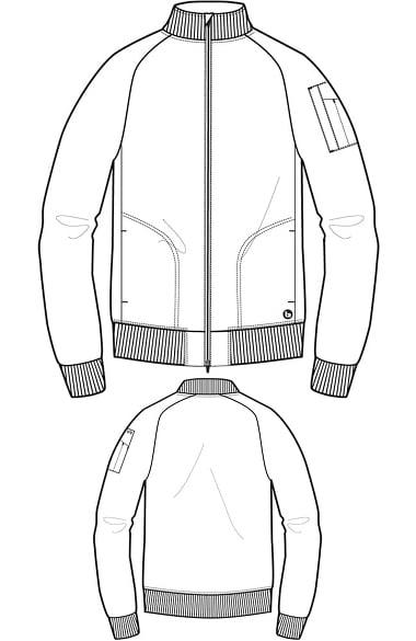 380x585 Barco Men's Zip Front Bomber Solid Scrub Jacket