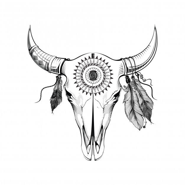 626x626 Boho Buffalo Skull With Feathers And Dream Catcher. Hand Drawn