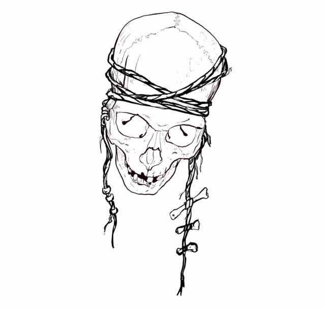 640x608 Skull With Rope And Bones Drawing By Ben Licata Tattoonow