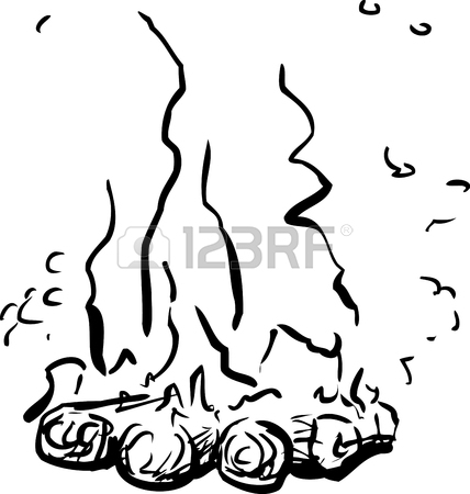 428x450 Outline Sketch Of Tall Flames On Bonfire Or Campfire Over White