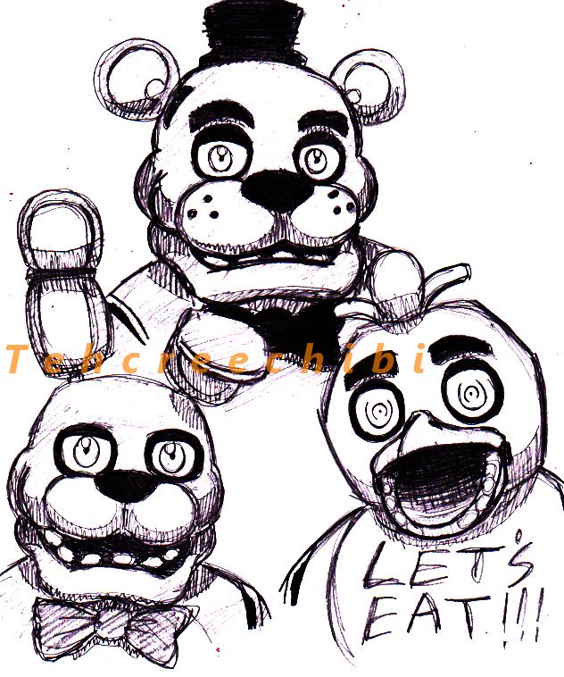 632x758 Bonnie, Freddy, And Chica Sketch By Tehcreechibi