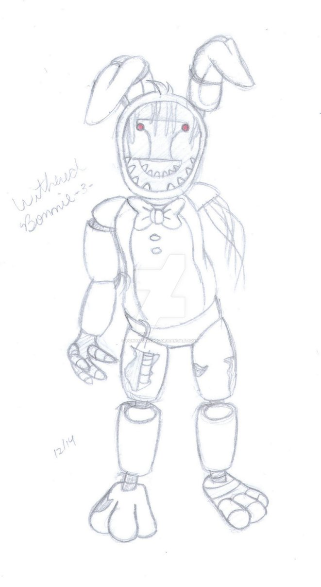 661x1208 How To Draw Withered Bonnie The Bunny From Five Nights At Freddy S