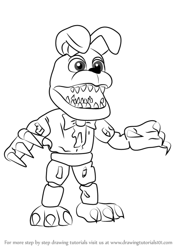 567x800 Learn How To Draw Nightmare Bonnie From Five Nights