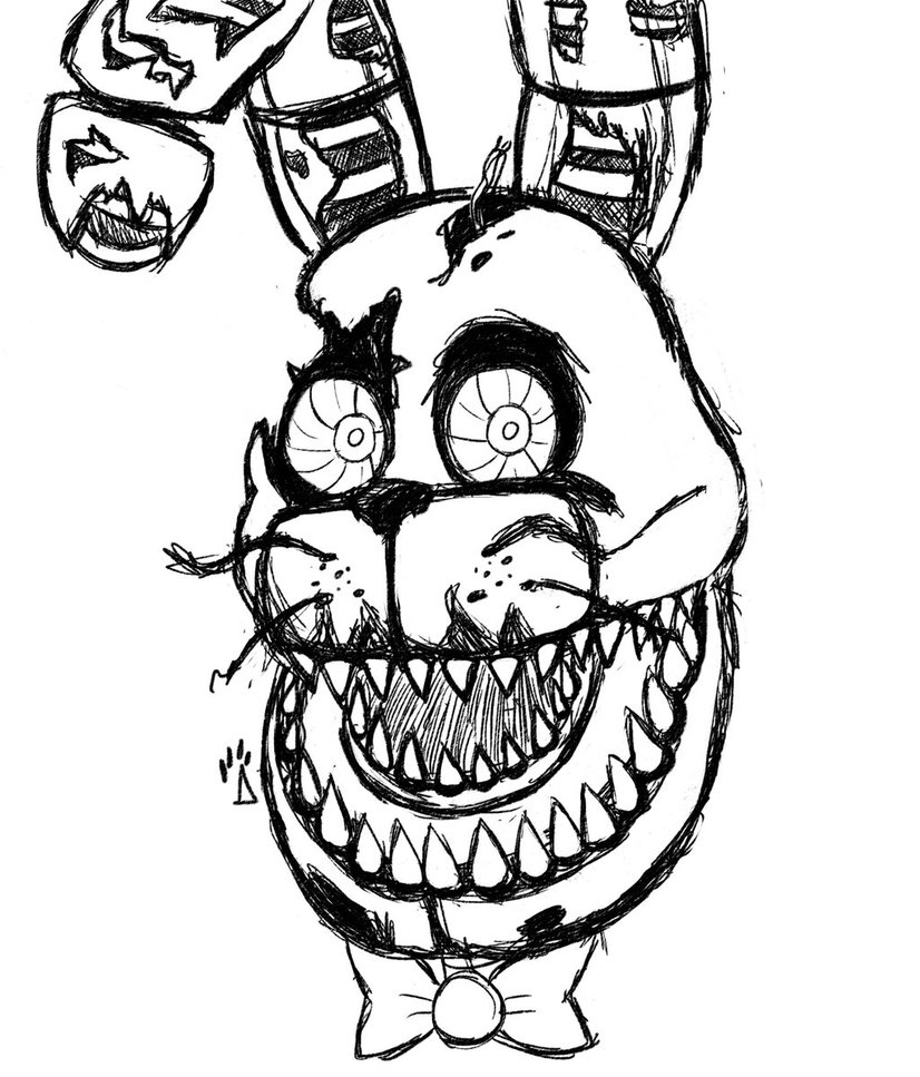 826x967 Nightmare Bonnie Rough Drawing By Springaling