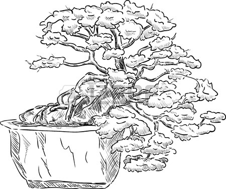 450x376 Ink Styled Drawing Of Bonsai Tree With Iris Flowers Royalty Free