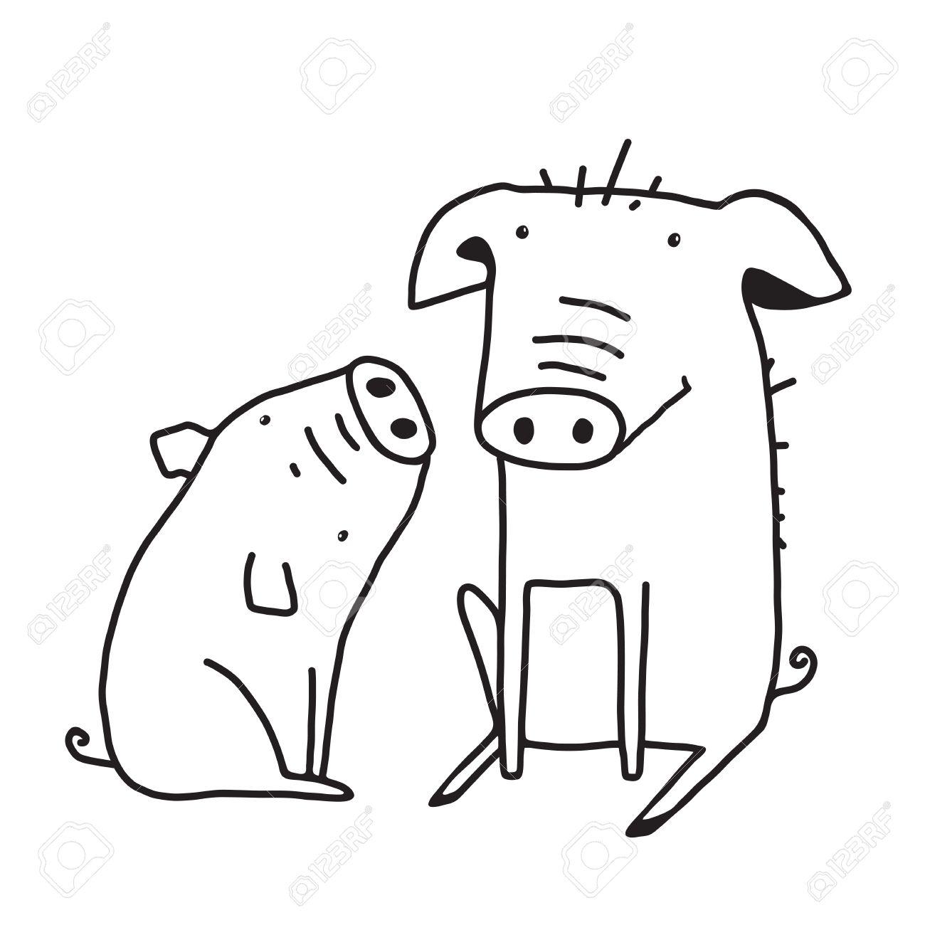 1300x1300 Farm Animals Line Drawing Illustration. Animal Farm Silhouette