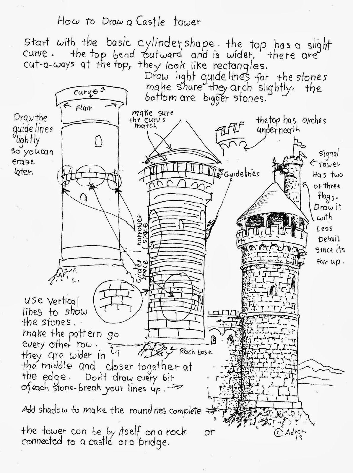 1195x1600 How To Draw Worksheets For The Young Artist How To Draw A Castle