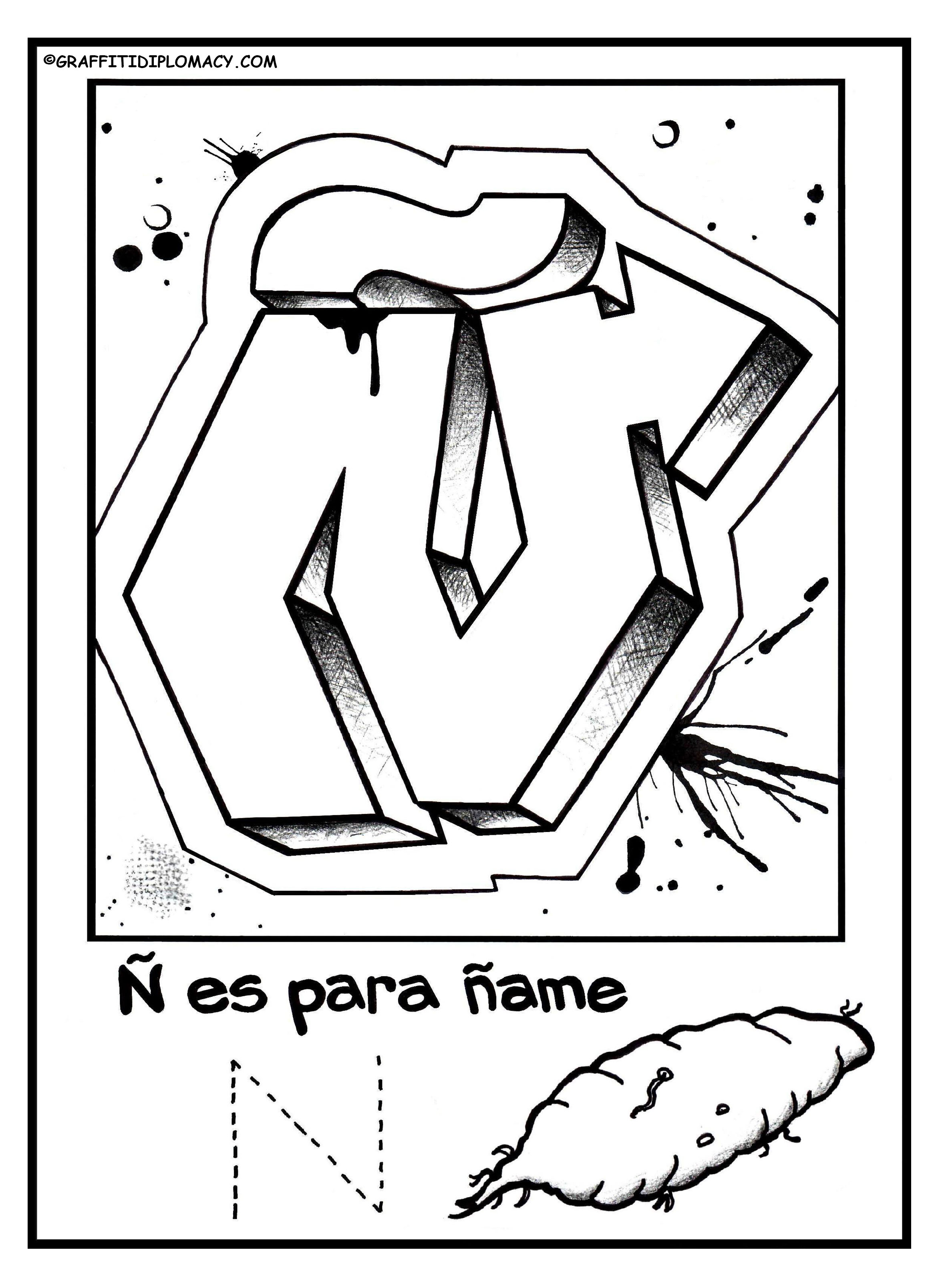 2347x3217 Fun To Color Graffiti Letters To Help Kids Learn The Spanish