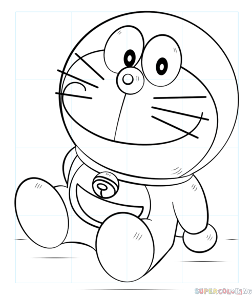 492x575 How To Draw Doraemon Step By Step Drawing Tutorials