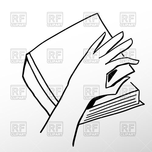 500x500 Outline Of Hand Opening Book Royalty Free Vector Clip Art Image