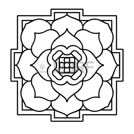 450x450 Tibet Ethnic Mandalas And Elements. Outline Drawing. Vector
