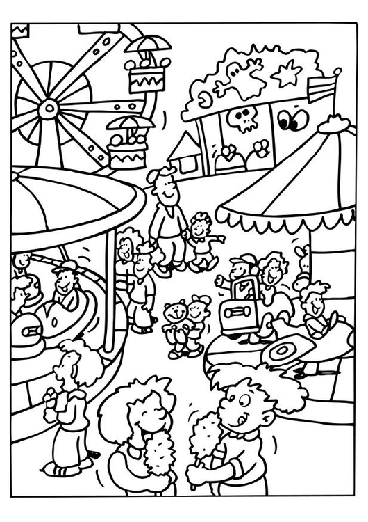 530x750 Coloring Page Carnival County Fair Carnival