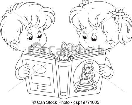 450x360 Children Reading. Little Girl And Boy Reading A Book Vector