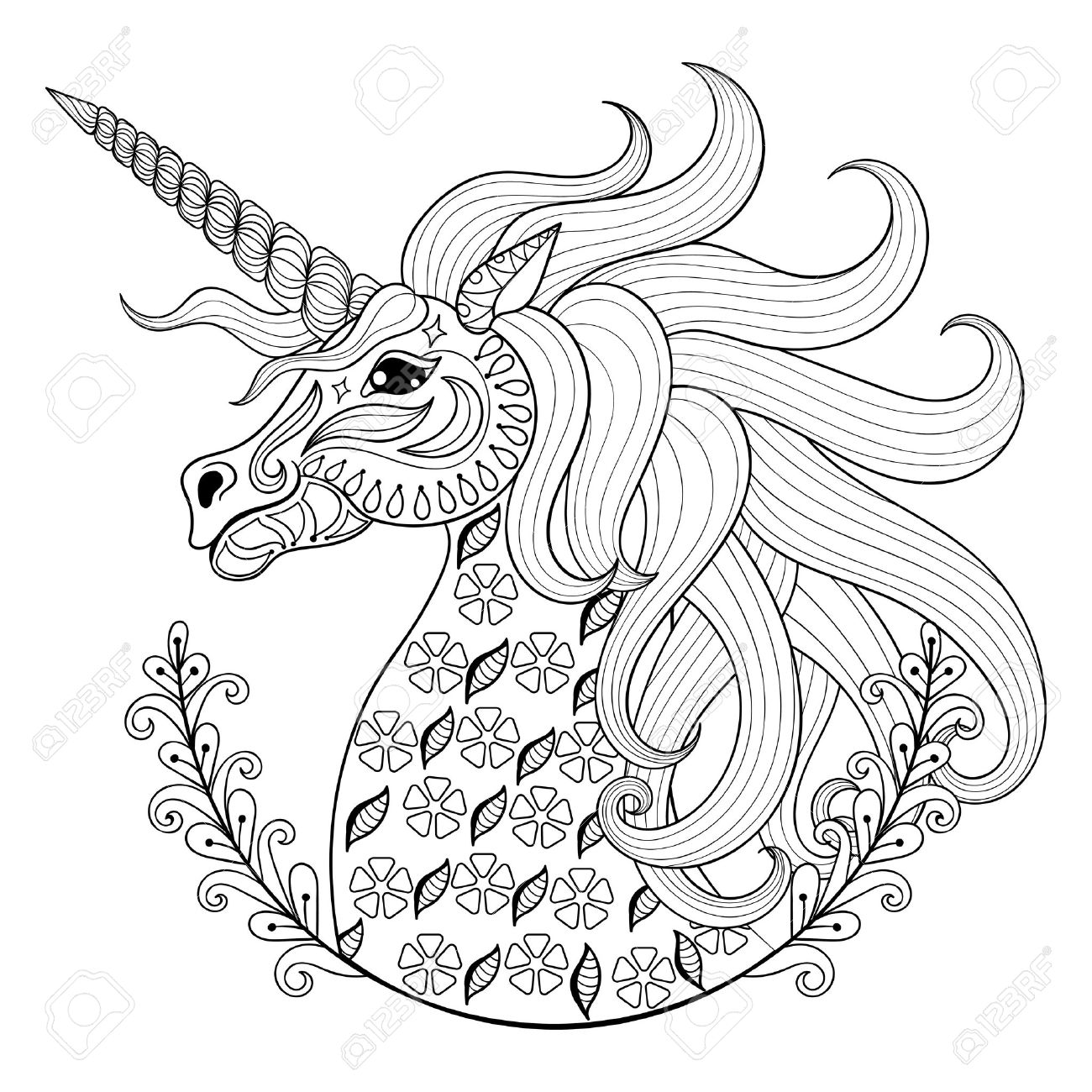 1300x1300 Hand Drawing Unicorn For Adult Anti Stress Coloring Pages