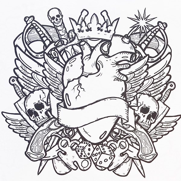 600x600 Coloring Pages Stunning Tattoo Draw 58 With