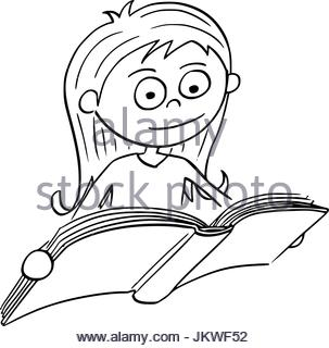 303x320 Hand Drawn Illustration, Girl Reading The Book In The Library