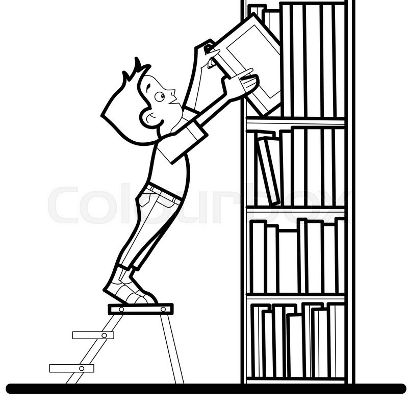 800x800 Boy Book Library Reading Line Art Caricature. The Student Takes