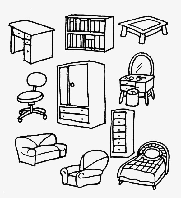 582x638 Furniture Collection,simplified Pen Drawing, Bookshelf, Dresser