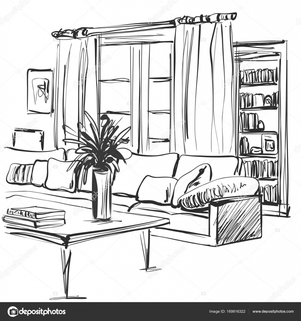 963x1024 Hand Drawn Sketch Of Modern Living Room Interior With A Sofa