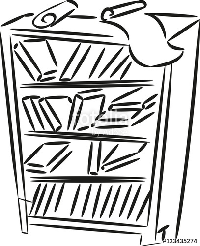 407x500 Sketch Of Bookshelf With Books And Papers Stock Image And Royalty