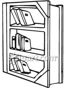 225x300 Black And White On Book Shelf Clipart