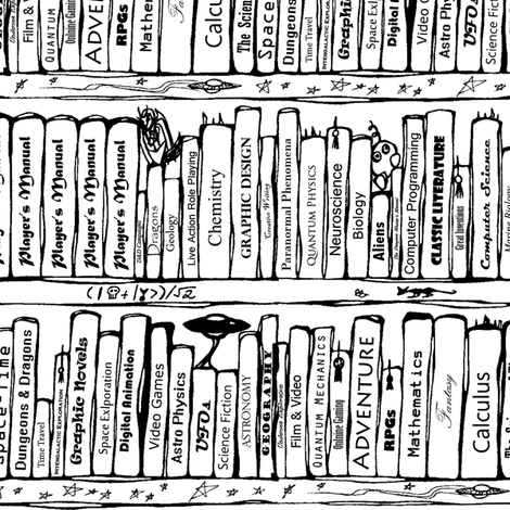 470x470 Book Shelves Repeat (Black And White) Fabric