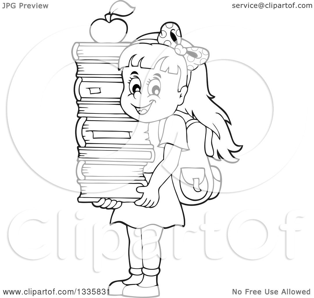 1080x1024 Clipart Of A Cartoon Blackd White Happy School Girl Carrying
