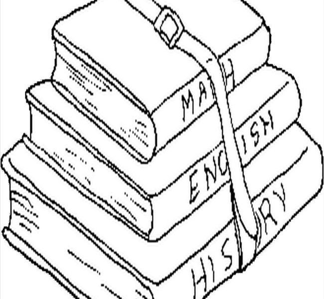 650x600 Coloring Pictures Of Books Stack Books Coloring Page Bebo Pandco