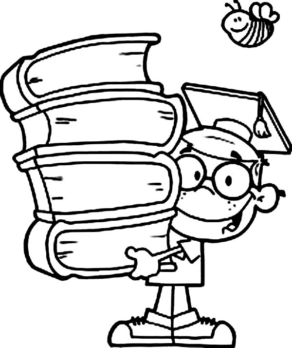 600x714 Scholar Bring Stack Of Book Coloring Page Coloring Sun