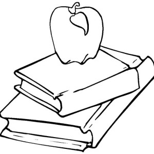300x300 Apple On Stack Of Book Coloring Page Coloring Sun