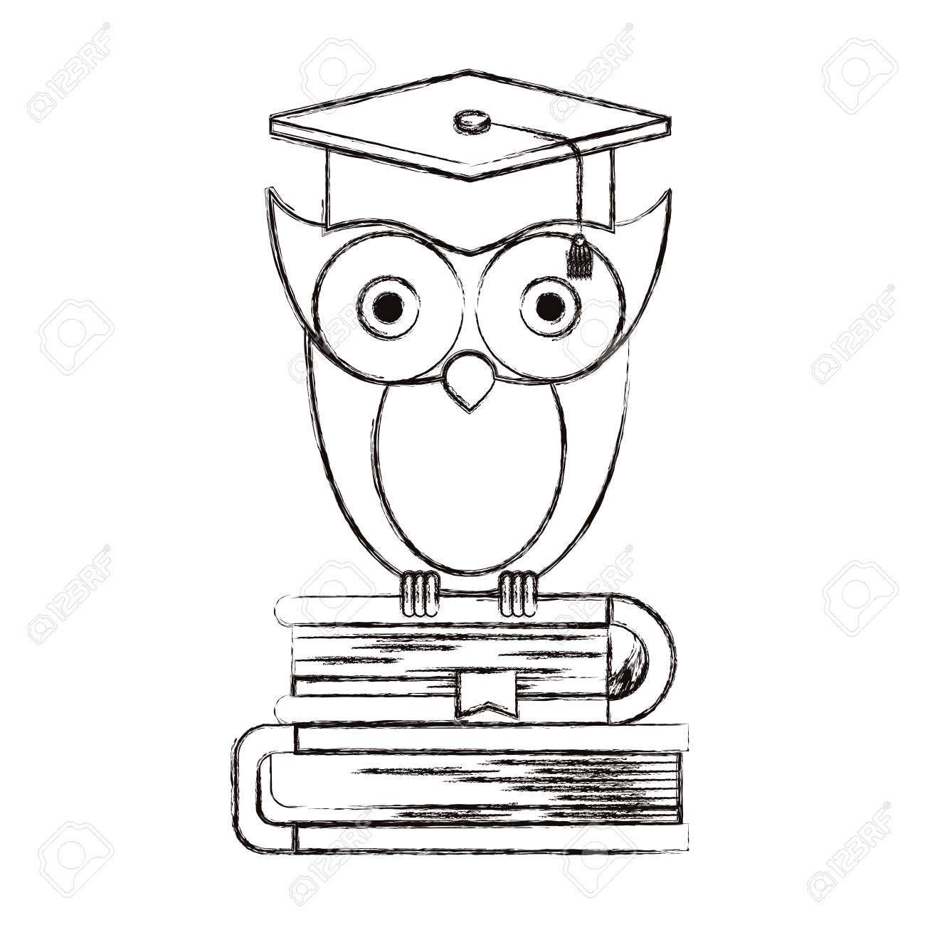 1300x1300 Sketch Blurred Silhouette Of Owl Knowledge With Cap Graduation