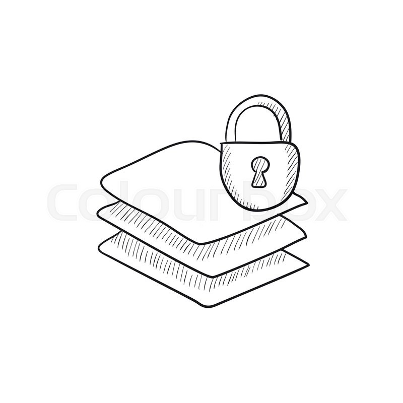 800x800 Stack Of Papers With Lock Vector Sketch Icon Isolated