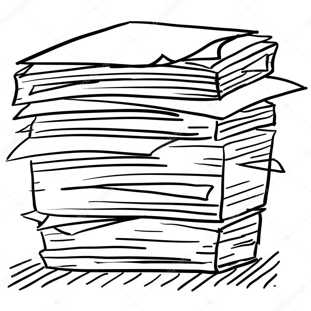 1024x1024 Stack Of Work Papers Sketch Stock Vector Lhfgraphics