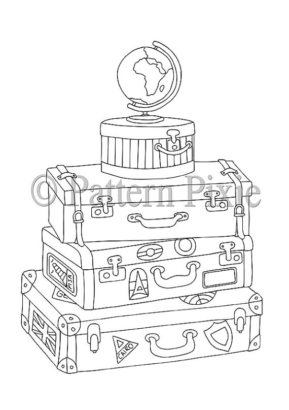 570x807 Stacked Vintage Suitcases Colouring Page