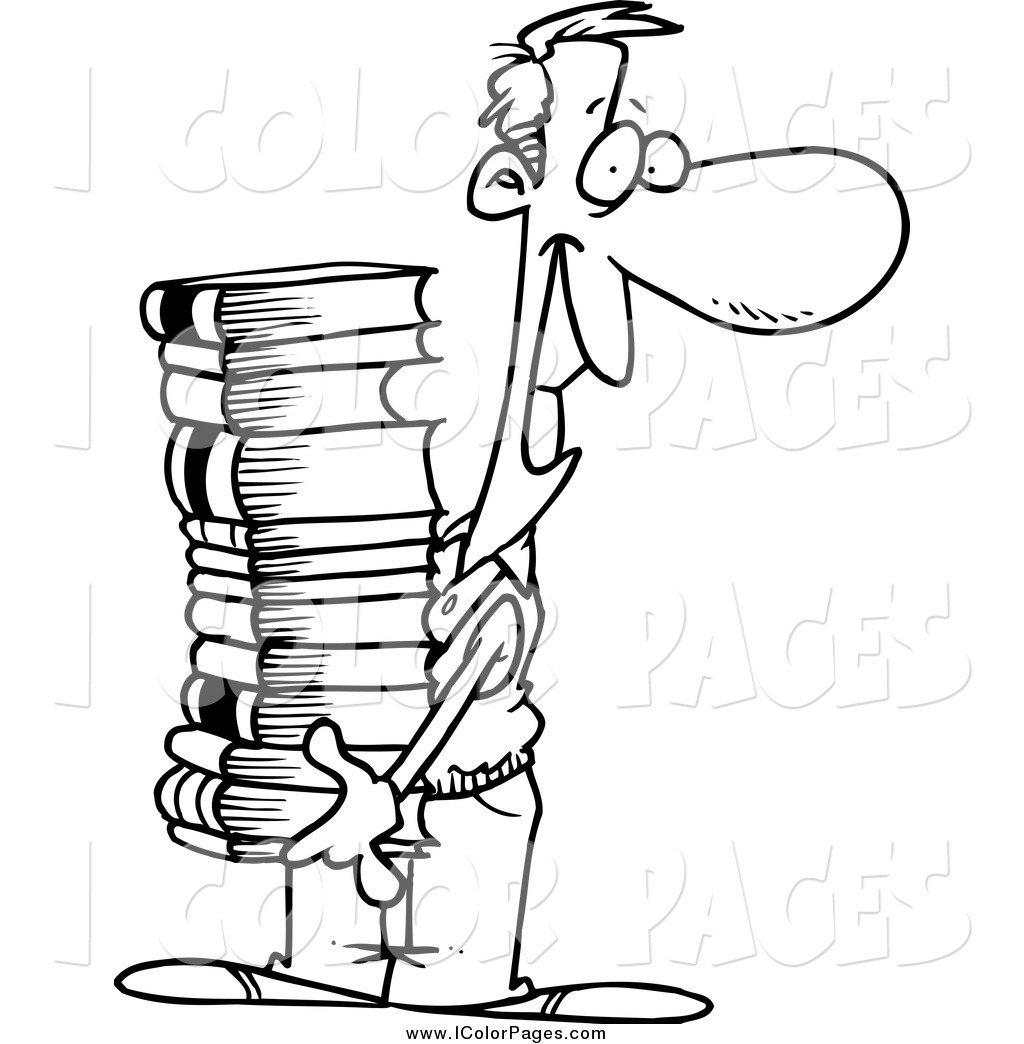 1024x1044 Vector Coloring Page A Lineart Happy Man Carrying A Stack
