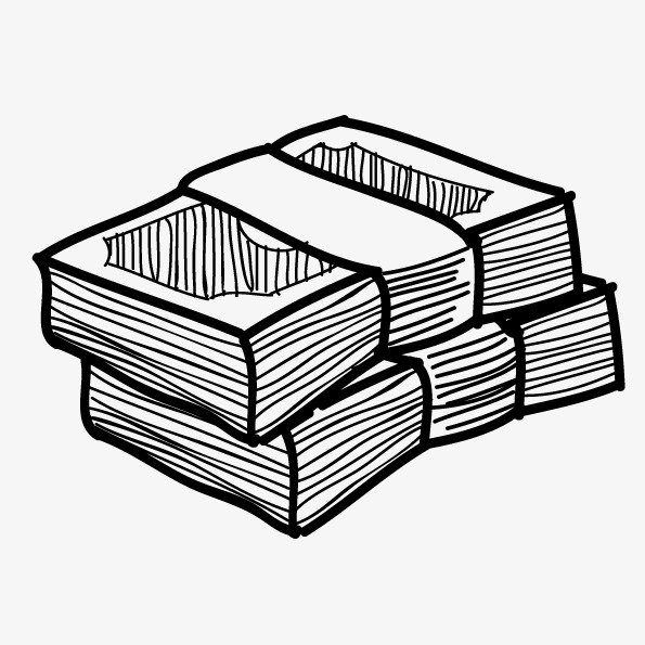 595x595 Vector Painted Stack Of Money, Line Drawing Notes, Money Clips