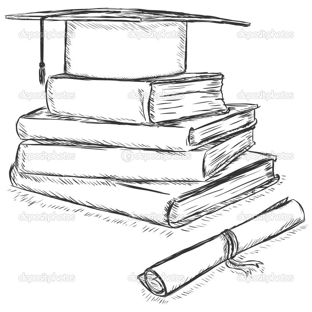 1024x1024 Stack Of Books Line Drawing